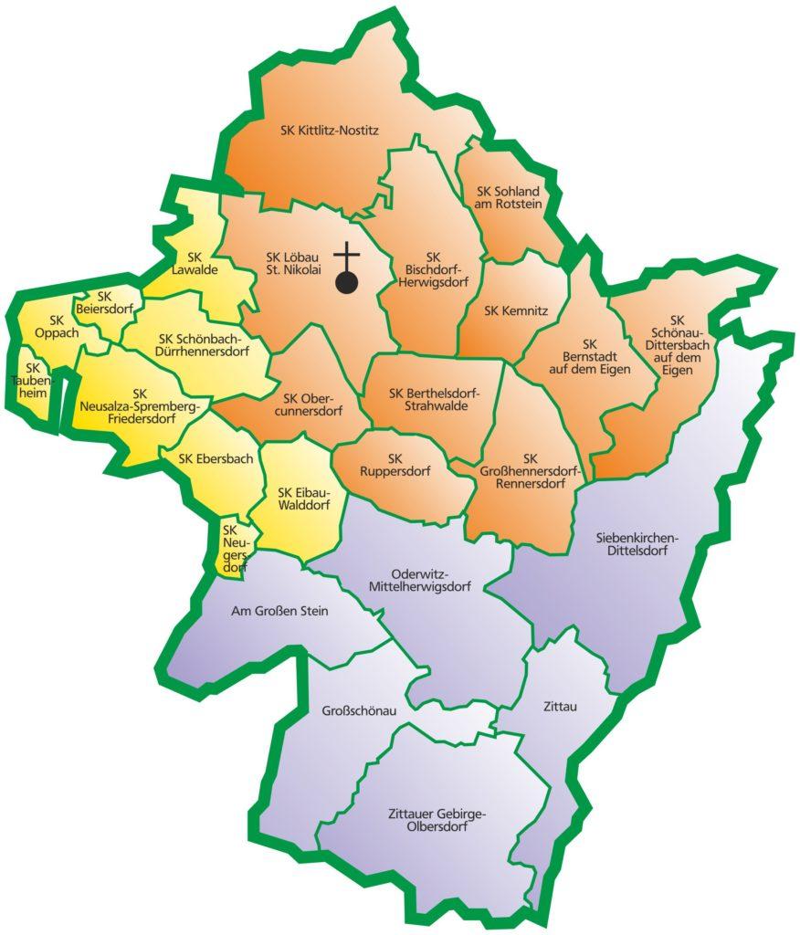Übersichtskarte Kirchenbezirk Löbau-Zittau